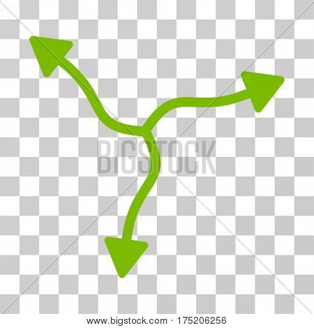 Curve Arrows icon. Vector illustration style is flat iconic symbol eco green color transparent background. Designed for web and software interfaces.