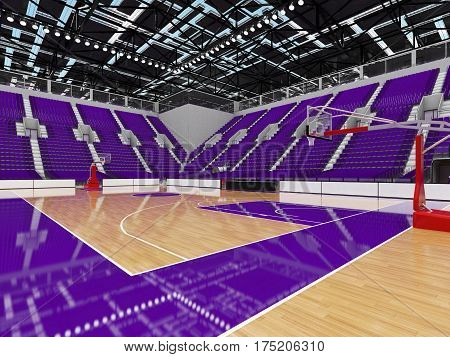 Bbeautiful Sports Arena For Basketball With Purple Seats And Vip Boxes