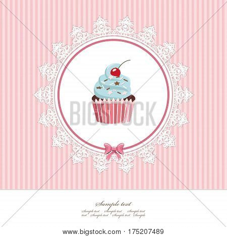 Greeting card template with cupcake. For birthday scrapbook or bakery design. Vector.