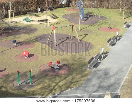 Empty Outdoor Kids Playground With Games