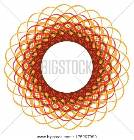 Bright round frame. Background of intersecting lines. Stylized tangle of thread. Dynamic image of thread. Sunny backdrop for text.