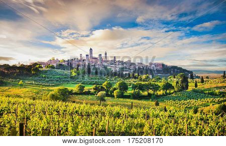 Medieval Town Of San Gimignano At Sunset, Tuscany, Italy