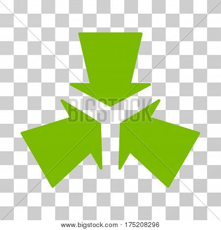 Shrink Arrows icon. Vector illustration style is flat iconic symbol eco green color transparent background. Designed for web and software interfaces.