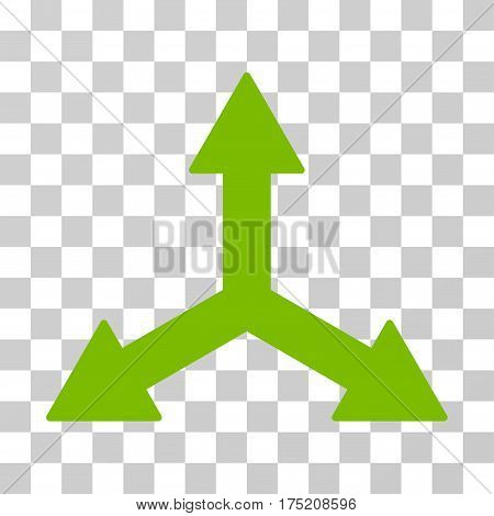 Triple Arrows icon. Vector illustration style is flat iconic symbol eco green color transparent background. Designed for web and software interfaces.
