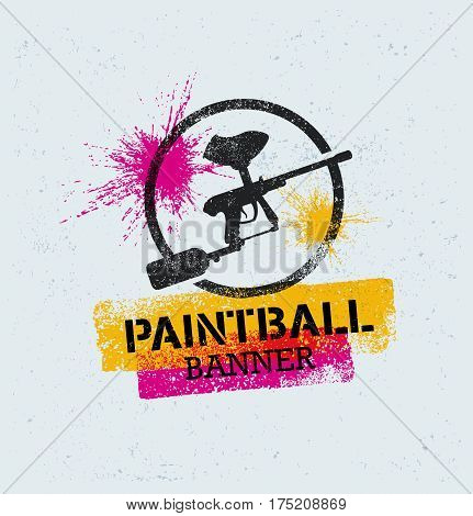 Paintball Marker Gun Vector Splat Banner on Grunge Background.
