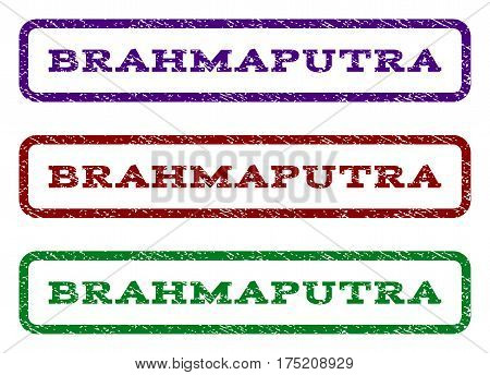 Brahmaputra watermark stamp. Text tag inside rounded rectangle with grunge design style. Vector variants are indigo blue, red, green ink colors. Rubber seal stamp with dust texture.