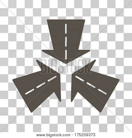 Merge Directions icon. Vector illustration style is flat iconic symbol grey color transparent background. Designed for web and software interfaces.