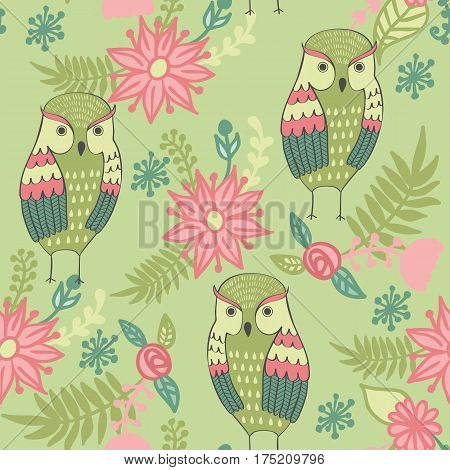 Vector seamless pattern with owls and flowers.