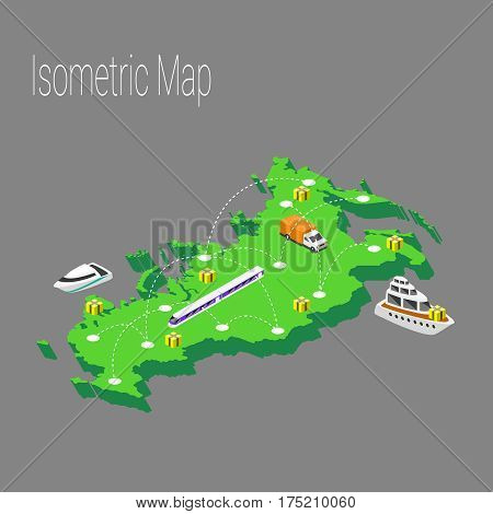 Map Russia isometric concept. 3d flat illustration of Map Russia.