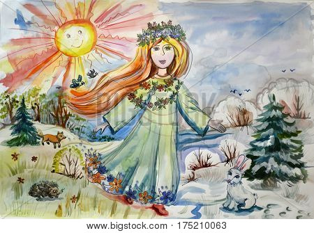 Children's bright illustration of the arrival of spring