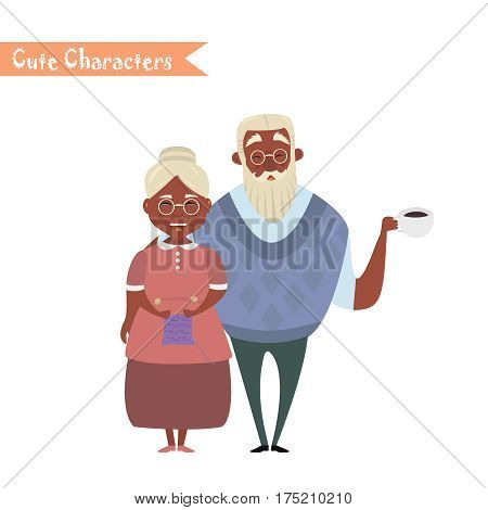 Couple of African American older people. African American Grandmother and grandfather. Vector illustration greeting. Lovely elderly couple poster