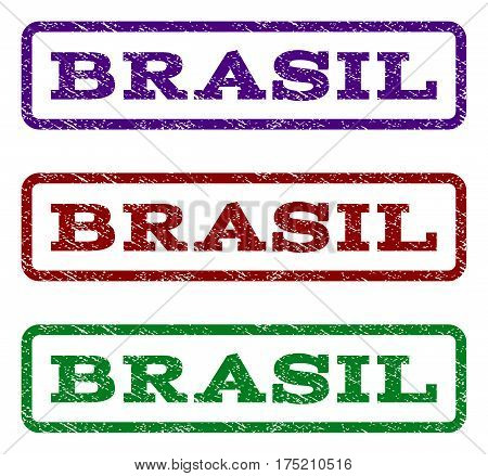 Brasil watermark stamp. Text caption inside rounded rectangle with grunge design style. Vector variants are indigo blue, red, green ink colors. Rubber seal stamp with dust texture.