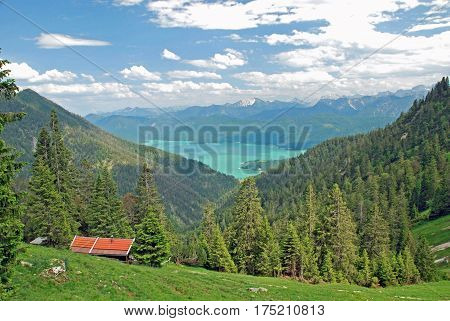 Beautiful panorama of Walchensee in the bavarian alps
