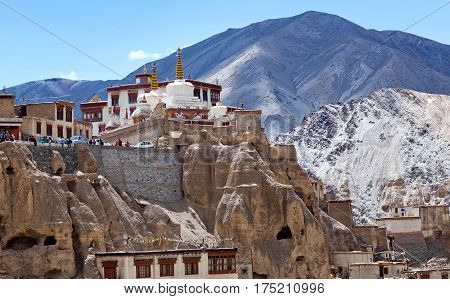 Famous ancient Lamayuru Gompa in Ladakh, Jammu and Kashmir State, North India
