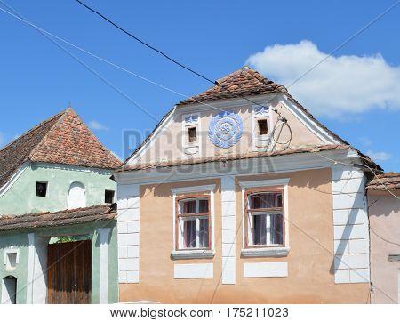 Typical house in the village Crit-Kreutz, Transylvania. The villagers started building a single-nave Romanesque church, which is uncommon for a Saxon church, in the 13th century.