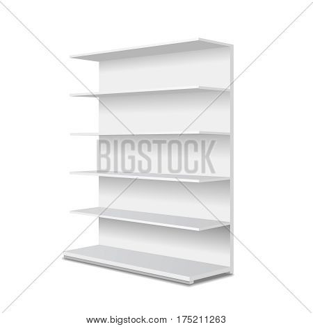 White long empty showcase displays with retail shelves. Perspective view. Isolated template for advertising