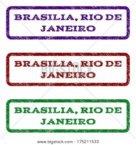Brasilia, Rio De Janeiro watermark stamp. Text caption inside rounded rectangle with grunge design style. Vector variants are indigo blue, red, green ink colors. Rubber seal stamp with dust texture.