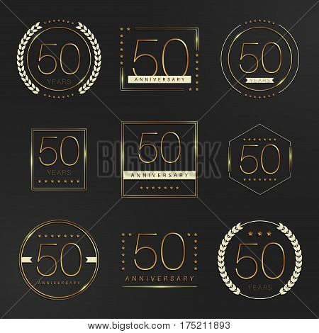 Fifty years anniversary logotype. 50th anniversary logo collection.