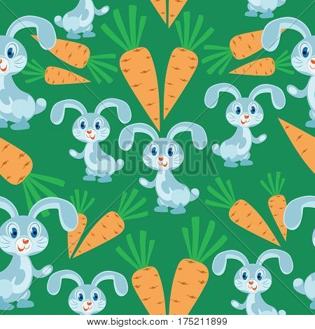 Rabbits with a carrot on a green background. Seamless pattern. Children's cartoon character. Design for textiles, wall hangings, wrapping paper.