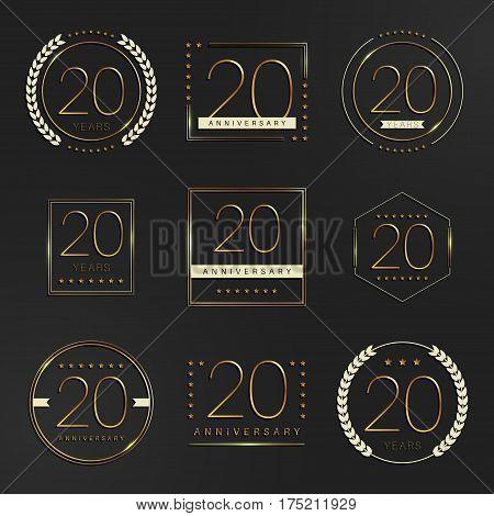 Twenty years anniversary logotype. 20th anniversary logo collection.