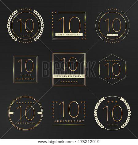 Ten years anniversary logotype. 10th anniversary logo collection.