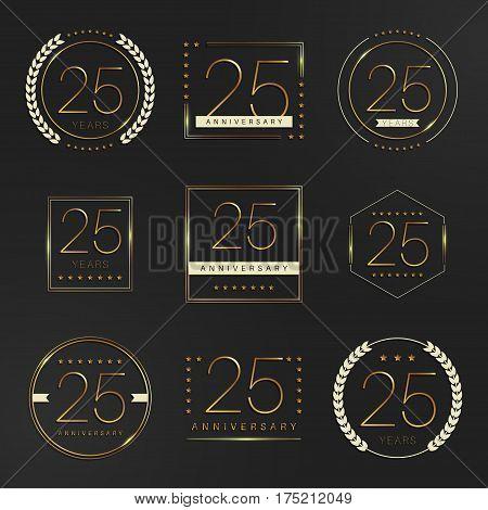 Twenty five years anniversary logotype. 25th anniversary logo collection.