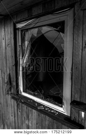 Old Creepy Dark Abandoned Destructive Dirty House Broken Windows