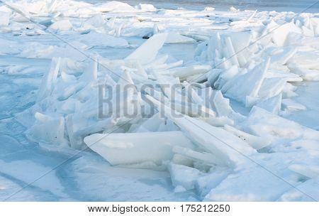 winter landscape in the frozen river Dniester