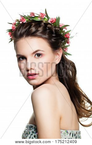 Young Woman Fashion Model with Prom Hairstyle Makeup and Flowers Isolated
