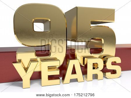 Golden digit ninety five and the word of the year. 3D illustration