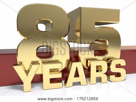 Golden digit eighty five and the word of the year. 3D illustration