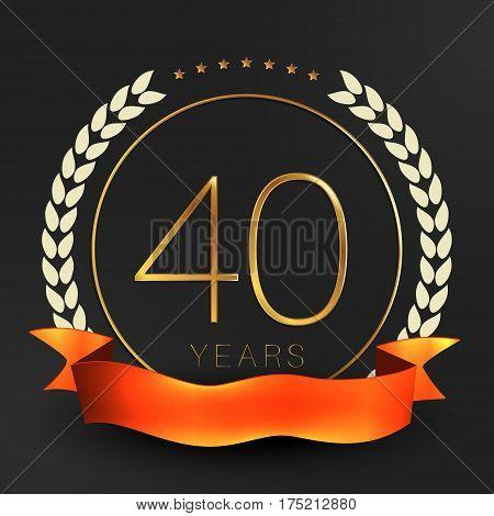 Forty years anniversary logotype. 40th anniversary logo.