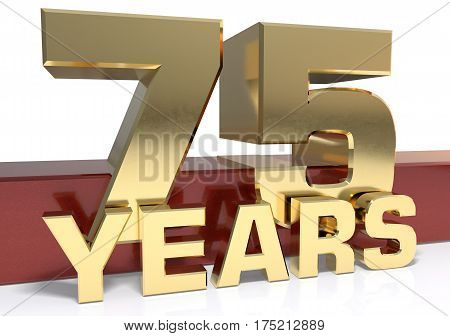 Golden digit seventy five and the word of the year. 3D illustration