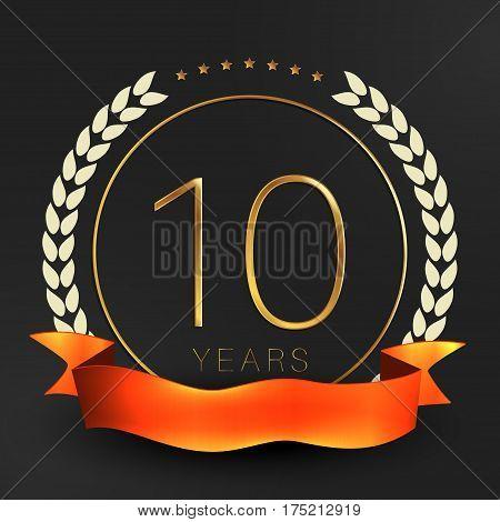 Ten years anniversary logotype. 10th anniversary logo.
