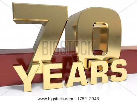 Golden digit seventy and the word of the year. 3D illustration