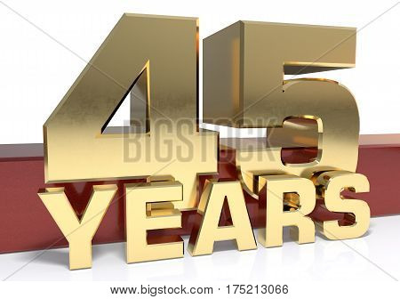 Golden digit forty five and the word of the year. 3D illustration