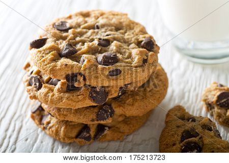 Delicious home baked chocolate chip cookies with a glass of milk.