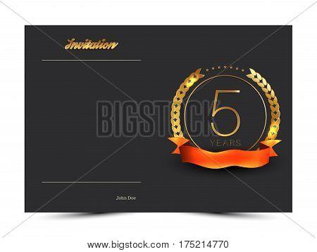 5th anniversary decorated invitation card template. Vector illustration.
