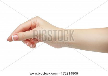 Woman hand hold object or other isolated on white background. isolated on white background. french nails