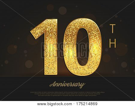 10th anniversary decorated invitation/greeting card template. Vector illustration.