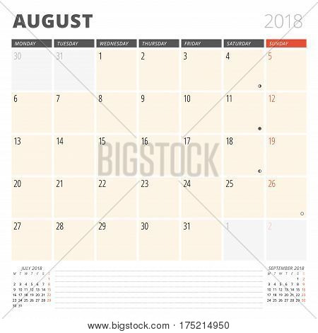 Calendar Planner For August 2018. Design Template. Week Starts On Monday. 3 Months On The Page. Phas