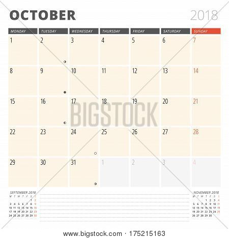 Calendar Planner For October 2018. Design Template. Week Starts On Monday. 3 Months On The Page. Pha