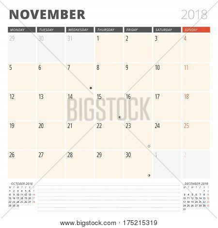 Calendar Planner For November 2018. Design Template. Week Starts On Monday. 3 Months On The Page. Ph