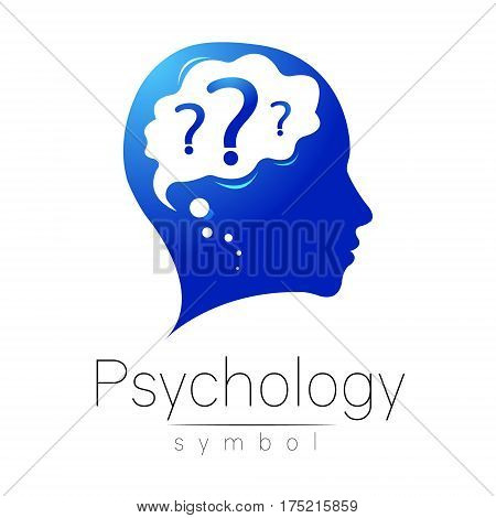 Modern head with question inside brain . sign of Psychology. Profile Human. Creative style. Symbol in vector. Design concept. Blue color isolated on white background. Icon for web.