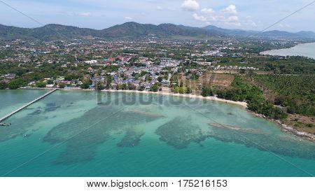 Aerial drone photo of pier on Rawai beach in Phuket, Thailand