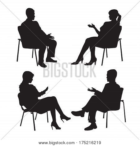 Set of psychologist and the client. Psychotherapy. Psycho therapeutic session. Psychological counseling. Man woman talking while sitting. Silhouette.Black profile