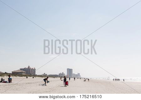 Myrtle Beach South Carolina USA-July 8 2014. Typical summer day in Myrtle Beach.