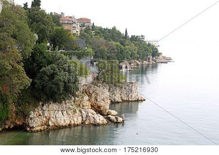 Rough Stone Coast Clifs at Adriatic Sea