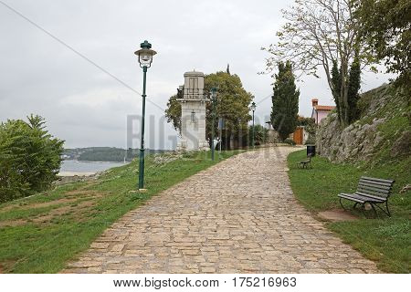 Old Stone Lighthouse Landmark In Rovinj Croatia