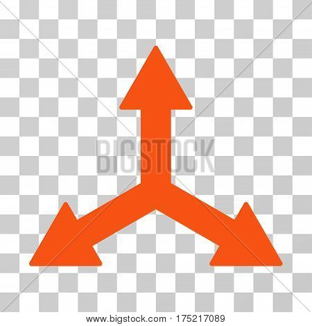 Triple Arrows icon. Vector illustration style is flat iconic symbol orange color transparent background. Designed for web and software interfaces.